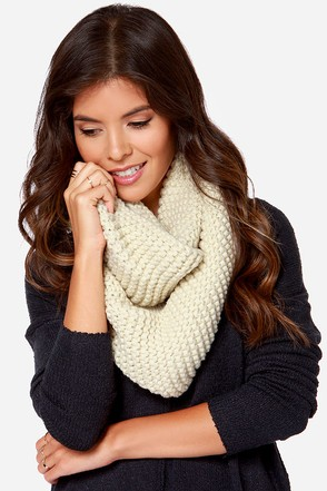 Be Fore-Warmed Cream Knit Infinity Scarf