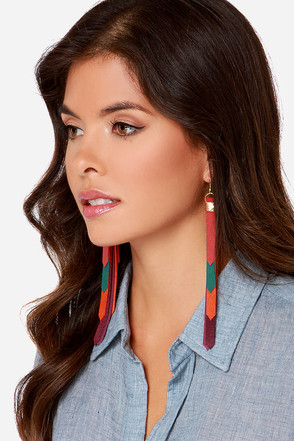 Claire Fong Santa Fe Arches Gold Multi Leather Earrings