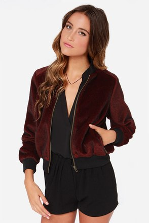 Darling Laina Burgundy Faux Fur Bomber Jacket