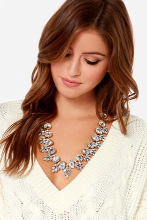 Kiss on the Ellipse Gold Rhinestone Necklace