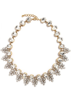 Kiss on the Ellipse Gold Rhinestone Necklace at Lulus.com!