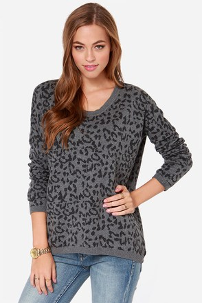 Hurley Bodie Grey Leopard Print Sweater
