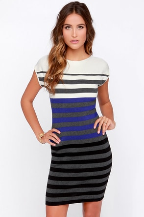 Make the Grade-ient Grey Striped Dress