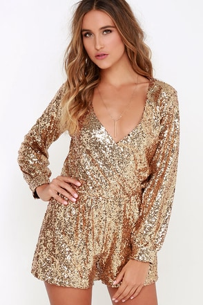 Good as Gild Gold Sequin Romper at Lulus.com!