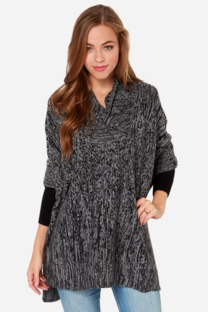 Lapel Me What You're Thinking Grey Poncho at Lulus.com!