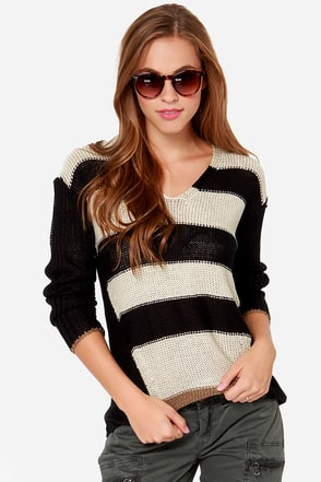 Around the Band Cream and Black Striped Sweater