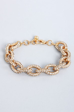 Link-Well Gold Rhinestone Bracelet at Lulus.com!