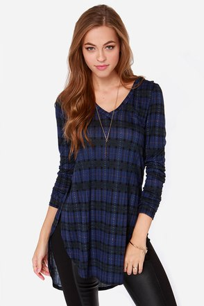 Plaid-ical Notion Blue Plaid Tunic Top at Lulus.com!