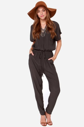 Stand Tall Olive Green Short Sleeve Jumpsuit at Lulus.com!