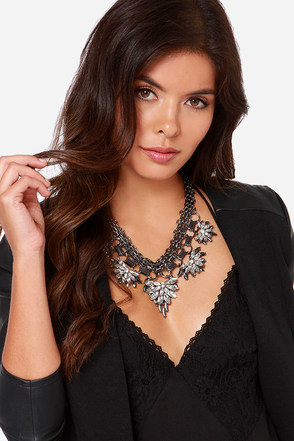 Chain Tracks Gunmetal Rhinestone Statement Necklace