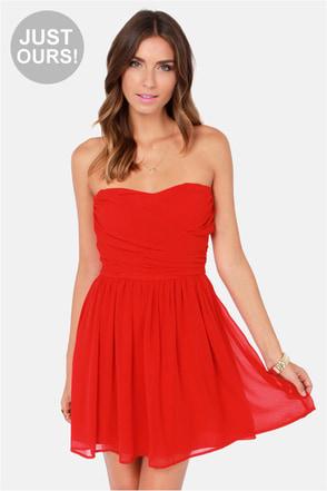 LULUS Exclusive Sash Flow Strapless Red Dress