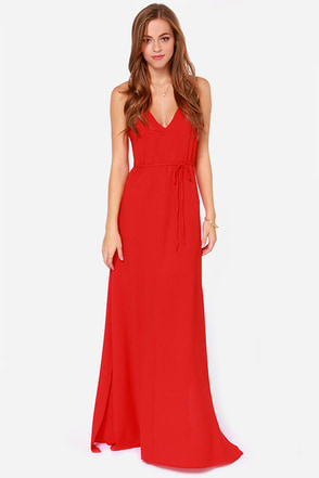Aryn K French Riviera Coral Red Maxi Dress