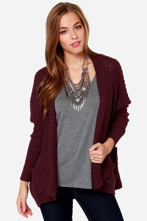 Just Chillin' Burgundy Knit Cardigan Sweater