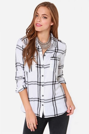 Hurley Wilson Ivory Plaid Long Sleeve Top at Lulus.com!