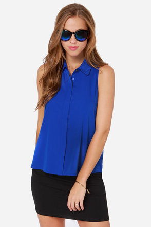 Prep to It Royal Blue Sleeveless Top