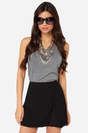 Pleat Emotion Black Wrap Mini Skirt