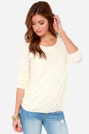 Lace It On Me Cream Lace Sweater