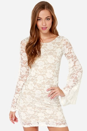LULUS Exclusive Bell Me Why Ivory Long Sleeve Dress