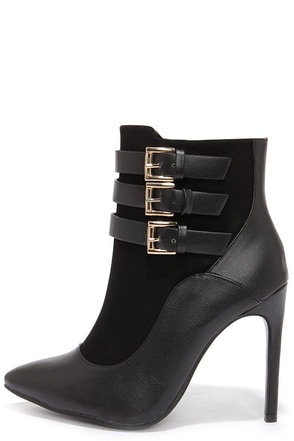 Buckle Up Black Pointed Toe Booties