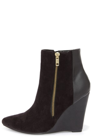 Split Decision Black Suede Wedge Booties