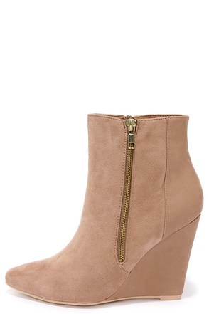 Split Decision Beige Suede Wedge Booties