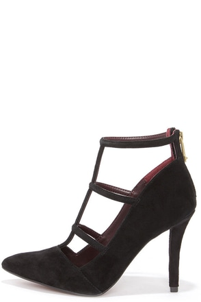 Report Daycee Black Suede Leather Pointed Toe Caged Heels at Lulus.com!