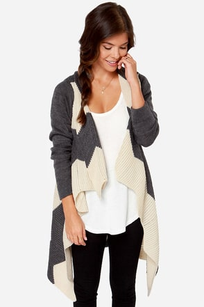 Thinking Out Lounge Cream and Grey Sweater at Lulus.com!