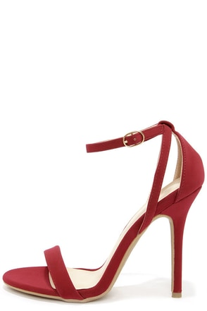 Glam Squad Wine Red Nubuck Ankle Strap Heels at Lulus.com!