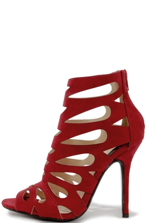 Chic Reputation Wine Red Caged High Heel Sandals