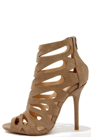Chic Reputation Taupe Caged High Heel Sandals