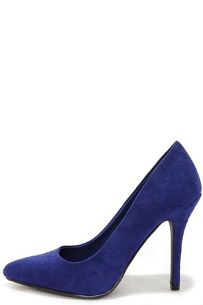 Step It Up True Blue Suede Pointed Pumps at Lulus.com!