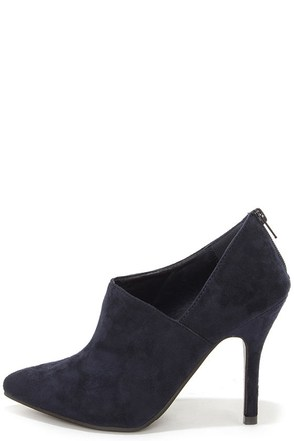 All I Want Navy Blue Suede Pointed Toe D'Orsay Booties