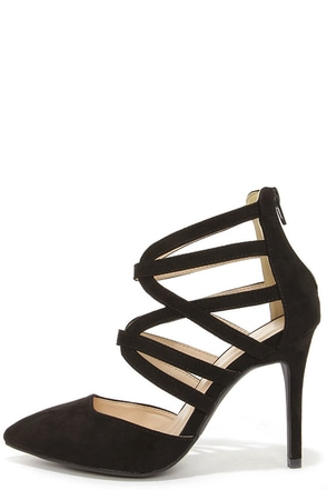 Sweet Talker Black Suede Caged Pointed Toe Heels at Lulus.com!