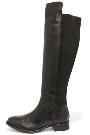 Seychelles Abroad Black Leather Over the Knee Boots