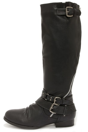 Hitchhiker Black Buckled Knee High Boots