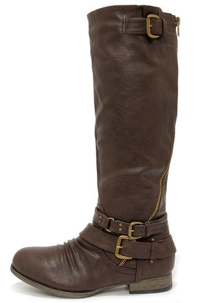 Hitchhiker Brown Buckled Knee High Boots at Lulus.com!