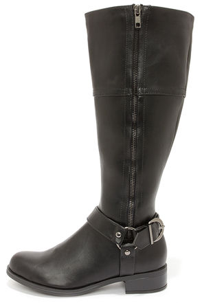 Soda Salsa Black and Gunmetal Harness Riding Boots