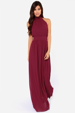 LULUS Exclusive Modern Duchess Burgundy Maxi Dress