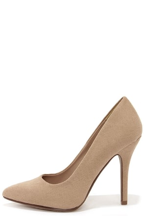 Step It Up Light Taupe Suede Pointed Pumps