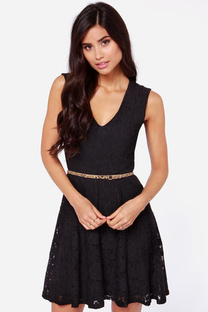 LULUS Exclusive Fine and Dainty Sleeveless Black Lace Dress