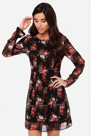Lingones Black Long Sleeve Floral Print Dress