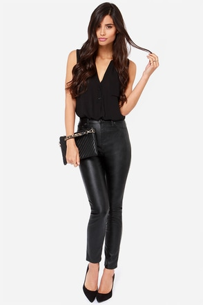 Blank NYC Juke Box Black Vegan Leather Skinny Pants