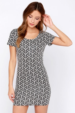 Can't Be Caught Black and Ivory Short Sleeve Dress