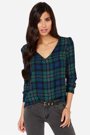 Kiss Kiss, Kilt Kilt Forest Green Plaid Long Sleeve Top