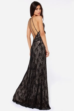 Another Late Night Backless Black Lace Maxi Dress