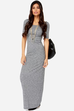 Roxy Take Time Knit Grey Maxi Dress