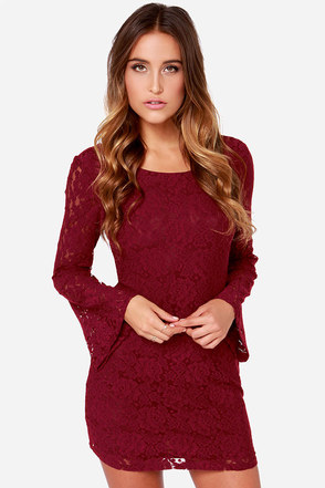 LULUS Exclusive Lace Sera Sera Burgundy Long Sleeve Dress