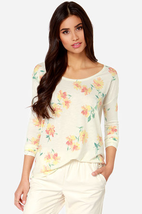 O'Neill Meadow Cream Long Sleeve Floral Print Top
