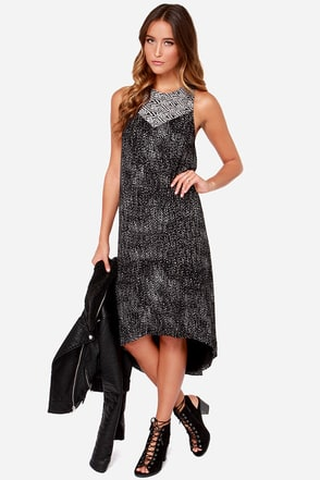 RVCA Liliana Black Print Midi Dress