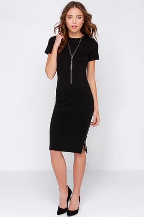 Perfect Relation-Zip Short Sleeve Black Midi Dress